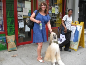 Susan Lietz and rescued Afghan, Teddy
